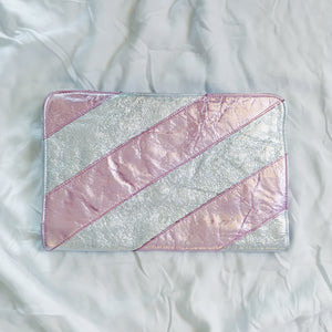 Bianca White Clutch - Pink Metallic