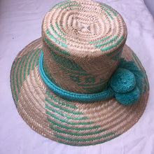 Load image into Gallery viewer, Hat Straw Pom Pom - Teal