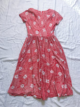 Load image into Gallery viewer, Vintage Dress Polyester Floral - Red