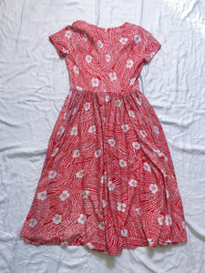 Vintage Dress Polyester Floral - Red