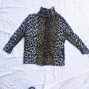 Vintage Turtleneck Top - Cheetah