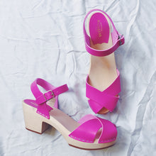 Load image into Gallery viewer, Swedish Hasbeen Mirja Heels - Neon Pink
