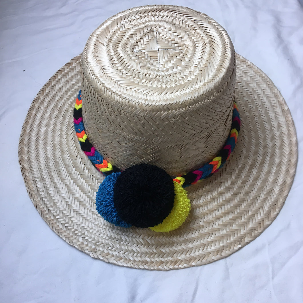 Hat Straw Pom Pom - MultiColor