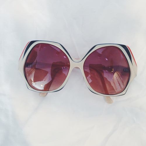 Vintage Sunglasses - Brown/Ivory/Red