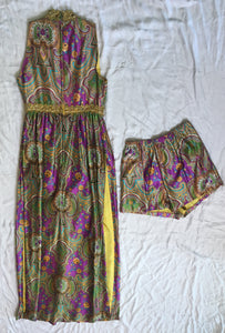 Vintage Dress With Shorts 2 Piece - Purple/ Gold