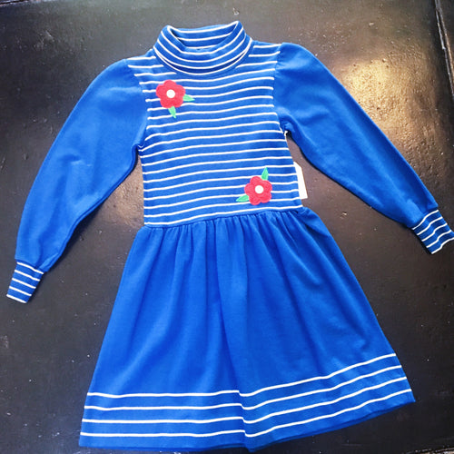 Vintage Dress Stripe Flower - Blue