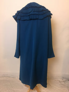 Vintage Coat Pleated Collar - Blue
