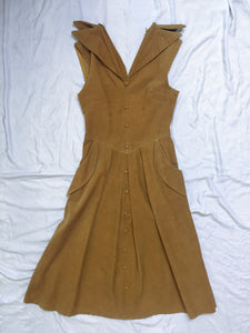 Vintage Dress Corduroy - Gold