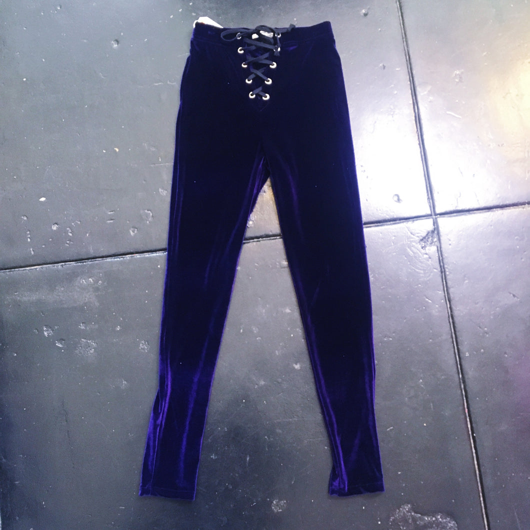 Spanish Threads Leggings Velvet Lace Up - Purple