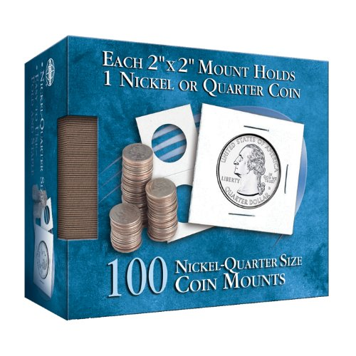 Nickel-Quarter 2x2 Mylar Protective Coin Covers: 100 Count