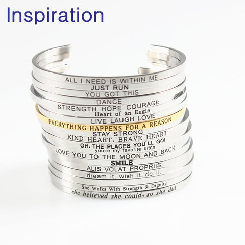 Motivational Quotes Bangle (Stainless Steel) 3