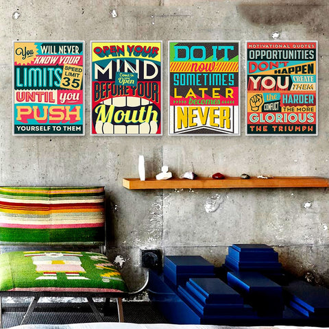Typography Vintage/Retro Wall Art Inspirational Quotes