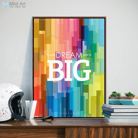 Colorful Rainbow Motivational Canvas Poster - Dream Big