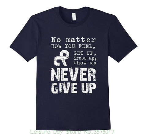 "Men Summer Short Sleeves Casual ""Never Give Up"" Motivational Inspirational Supporting Shirt"