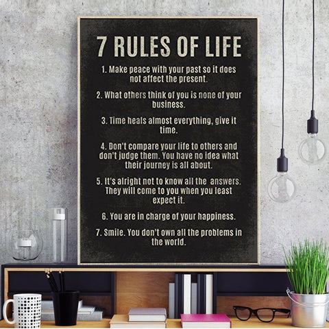 "Positive Canvas Printing - ""7 Rules of Life"""