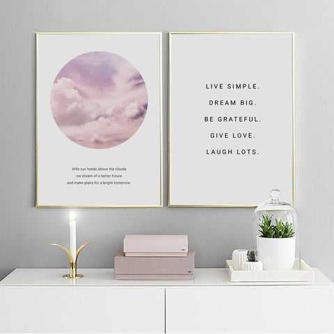 Poster Art Pink Clouds Quotes Decorative Print - Life Lessons