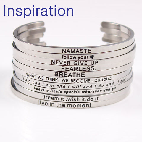 Motivational Quotes Bangle (Stainless Steel) 2