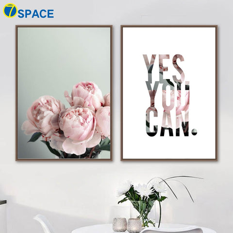 Peony Flower Inspire Quotes - Decorative Wall Art