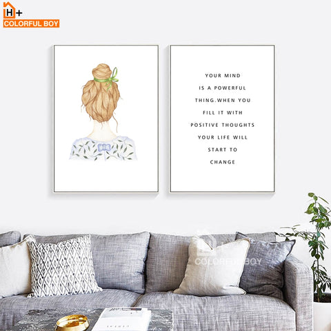 Canvas Wall Art  - Girl & Inspirational Quote - Nordic Poster