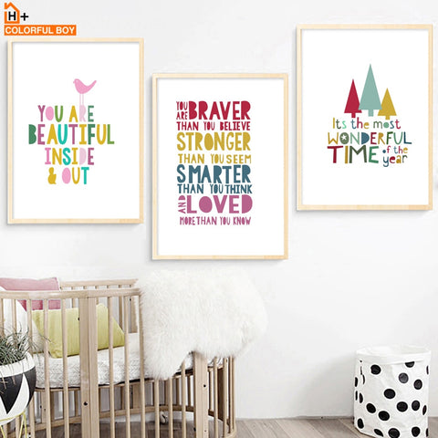 Cartoon Colorful Inspirational Quotes - Positive Nursery Kids' Room  - Motivational Canvas Prints