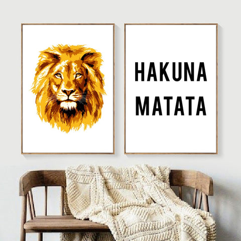 Cartoon Lion Hakuna Matata Quote - Nordic Poster