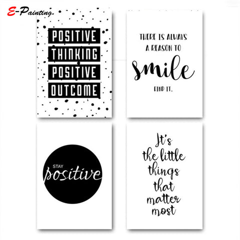 Modern Simple Inspirational Quotes Wall Art Happiness Smile