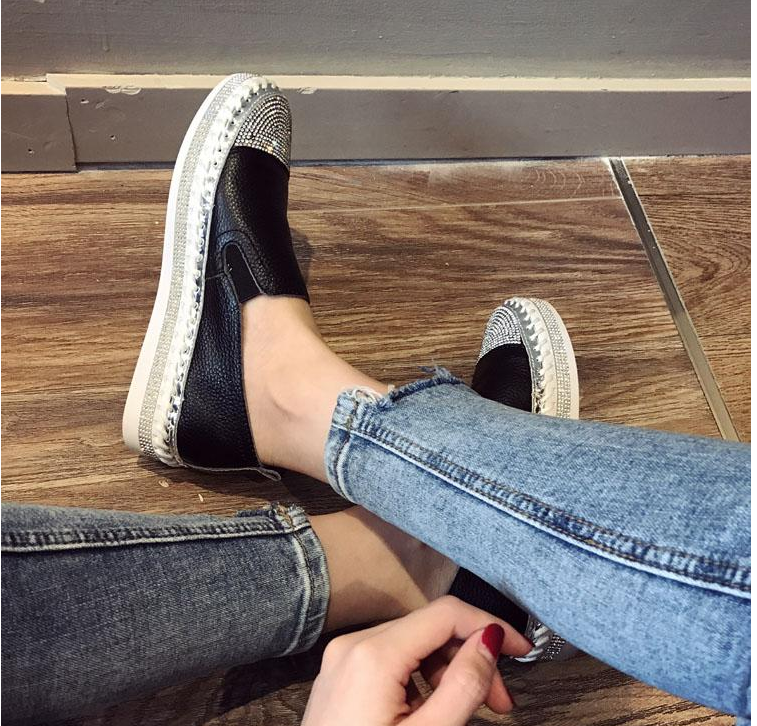 Women Genuine Leather Creepers Flats
