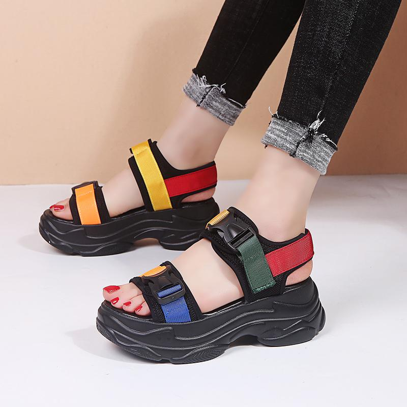 Rainbow Buckle Open Toe Wedge Sandals