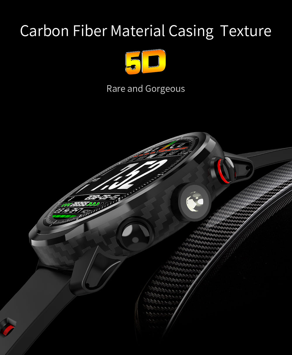 New Upgraded 5D Carbon Fiber IP68 Waterproof Heart Rate Multiple Sport Smartwatch