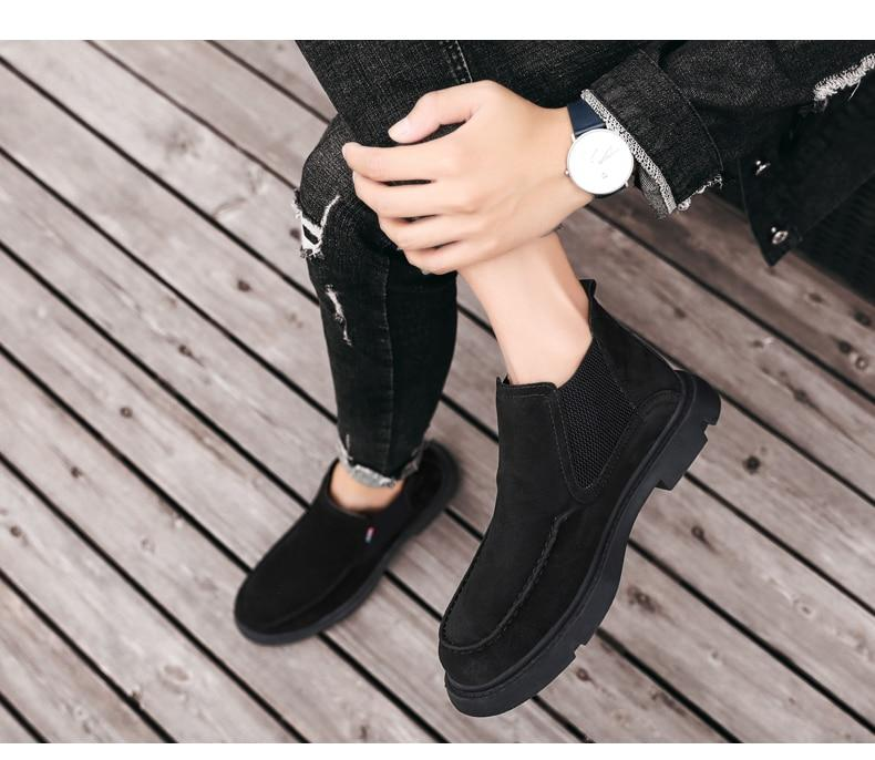 Men Winter Snow Boots High Quality Leather Plush Shoes