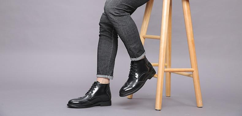 Man Ankle Leather Oxford Boots