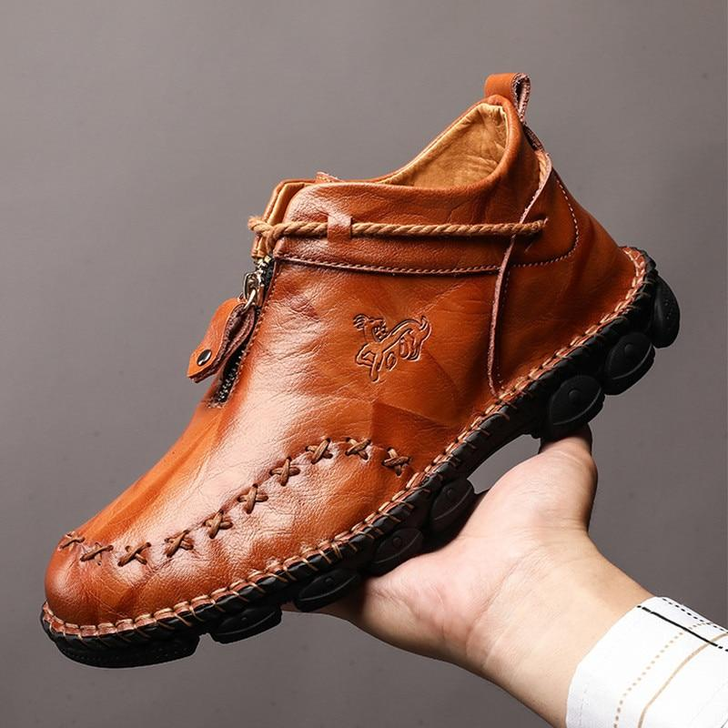High Quality Genuine Leather Men Boots Fashion Zipper Shoes Male Cow Leather Man Brown Ankle Boots Autumn Plus Size 38-48