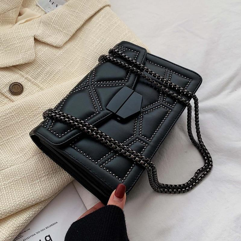 Rivet Chain Leather Bag