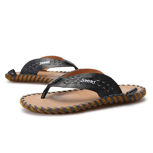 Luxury Men's Genuine Leather Beach Slippers - SpringLime