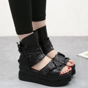 Sandals-Women's 100% Genuine Leather Very Light Platform Wedge Sandals