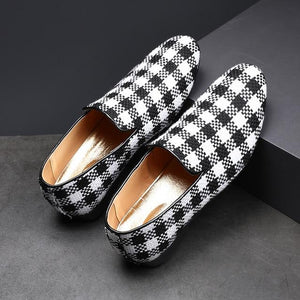 Men Plaid Pattern Leather Shoes