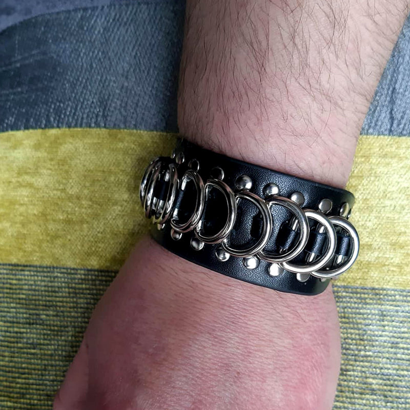 Leather Cuff with Studs & Rings - SuperLdN