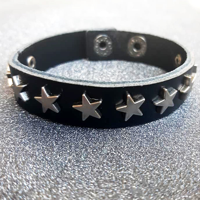 Leather Bracelet with Star Studs - superldn