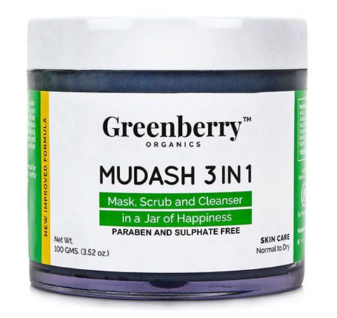 Greenberry Organics Mudash 3-in-1 Mask, Scrub & Cleanser 100 gm