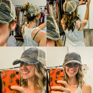 Camo USA Flag Patch High Ponytail BBall Hat