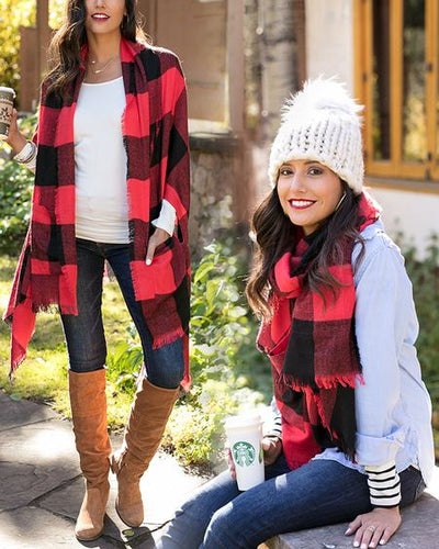 Buffalo Plaid Pocket Poncho Scarf - ALL SALES FINAL - Adaline Rae Boutique