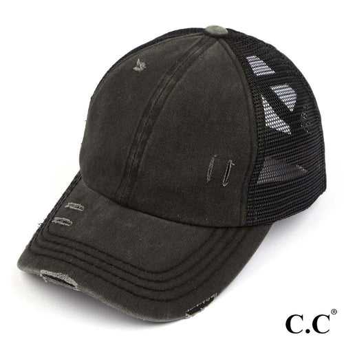 Ponytail Trucker Hat in Distressed Solids