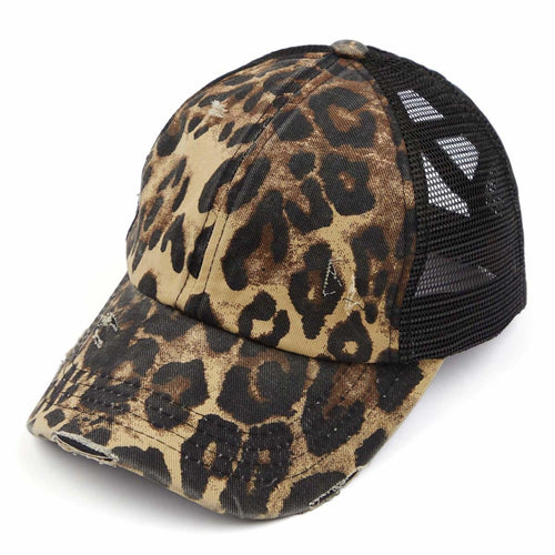 C.C Brand Distressed Leopard Criss Cross Pony Tail Cap