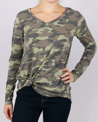 Camo Long Sleeve Perfect Pocket Tee - ALL SALES FINAL - Adaline Rae Boutique