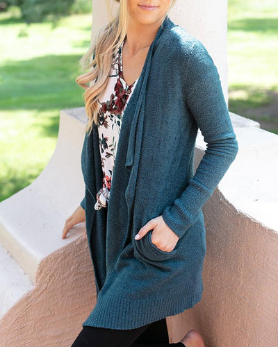 Bambü Pocket Wrap Cardigan in Teal