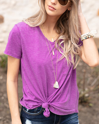 Burnout Perfect Pocket Tee - ALL SALES FINAL - Adaline Rae Boutique