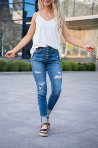 Casual Babe Cuffed Skinny Judy Blue Jeans