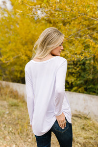 A Ray Of White Long Sleeve V-Neck Top - Adaline Rae Boutique