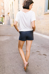 Business Casual Pinstriped Shorts - Adaline Rae Boutique