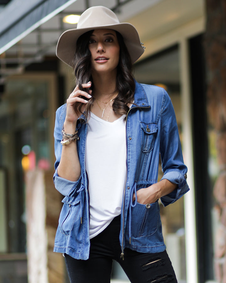Chambray Tencel Washed Cargo Jacket - ALL SALES FINAL - Adaline Rae Boutique